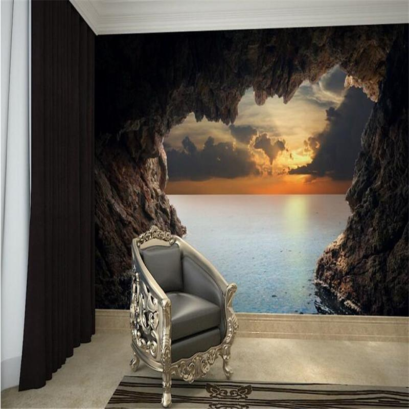 Wholesale Modern 3d Stereoscopic Photo Wallpaper Living Room Bedroom Tv  Background Wallpaper Beautiful Seascape Cave Wall Mural Wall Paper Football  ... Part 55