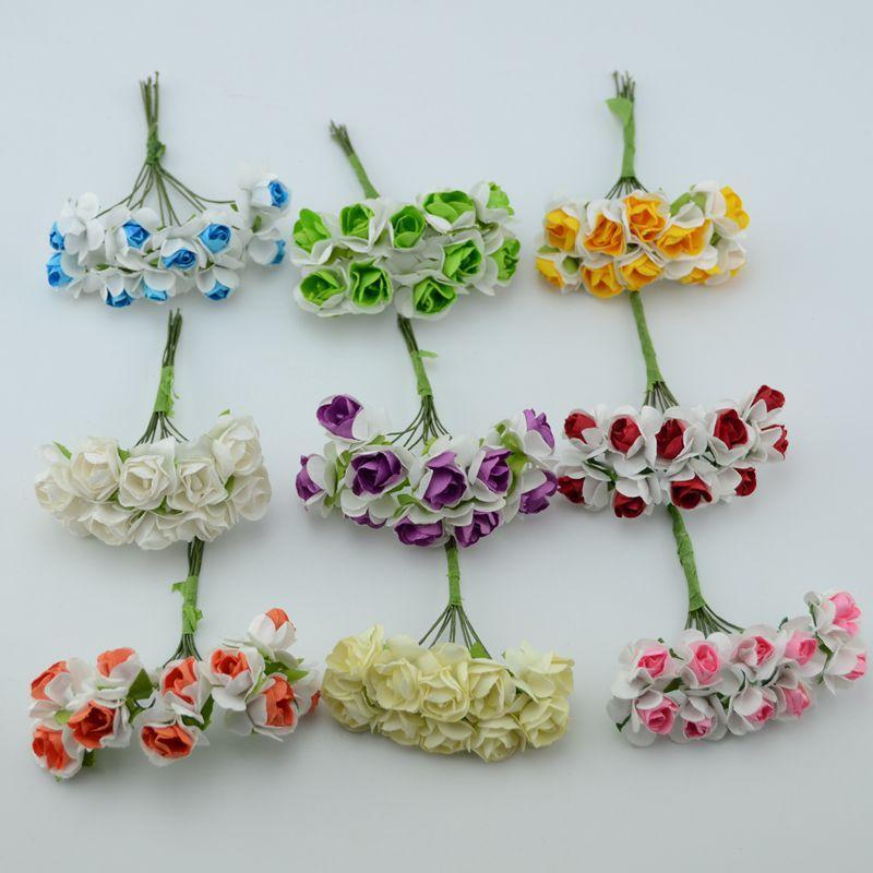 Wholesale 10pcs Artificial Small Paper Rose Flowers Diy Handmade Clothes Hat Decorative Flower Wreath