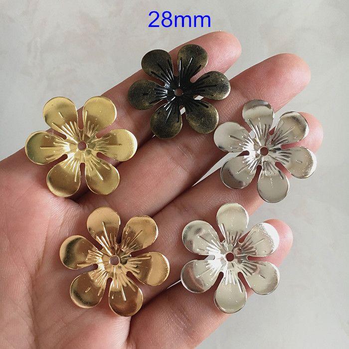 28mm Metal Stamping Flowers,6 Petal Flower Brass Bead Caps,DIY Crafts,Jewelry Delicate Findings