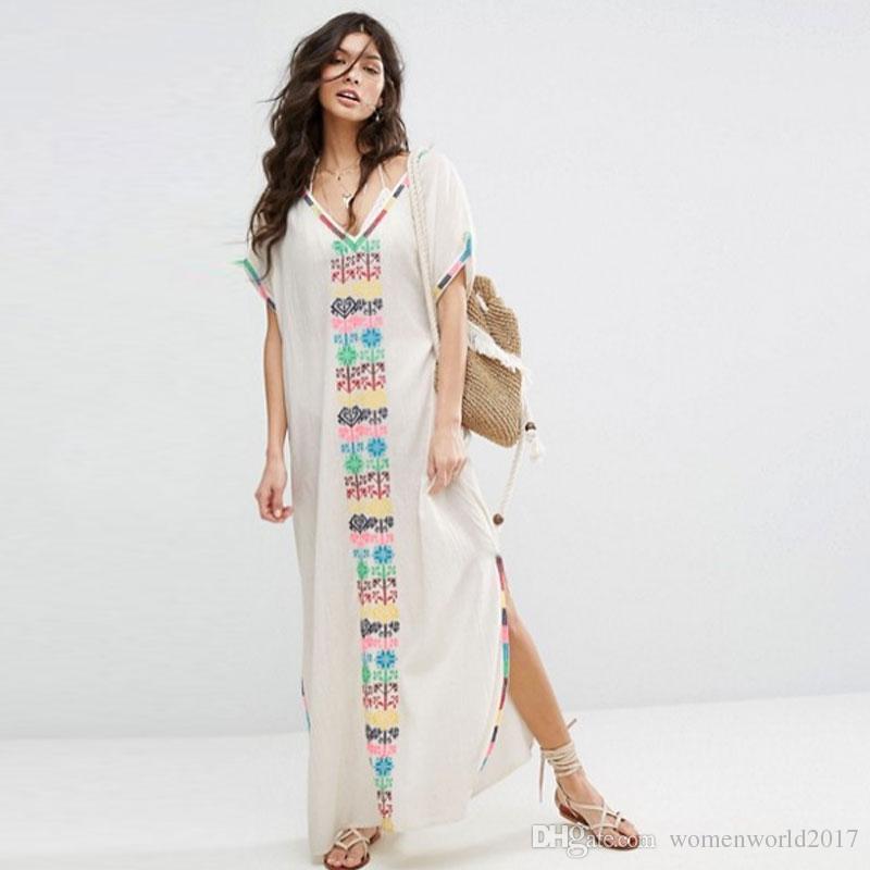 e5e6ad4da4 Compre Boho Bordado Vestidos Vestido De Cuello En V De Manga Corta Bajo  Vestido De Hem Vestido Largo De Bohemia Maxi Hippie Mujer Vestido De Playa  Fable ...