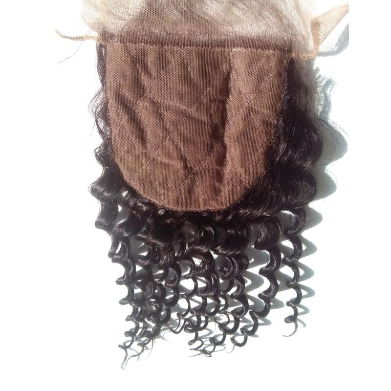 Brazilian Virgin Curly Silk Lace Closure 4*4 inch Bleached Knots Free Middle 3 Part Cheap Human Hair Silk Base Closure With Baby Hair