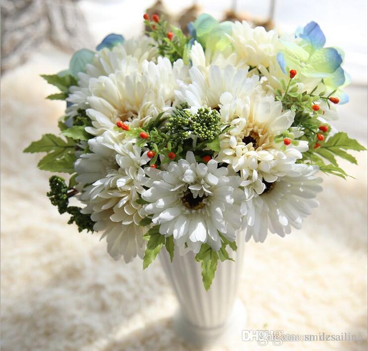 Grosshandel Gerbera Orchidee Blume Hochzeit Brautstrauss Seide Blumen