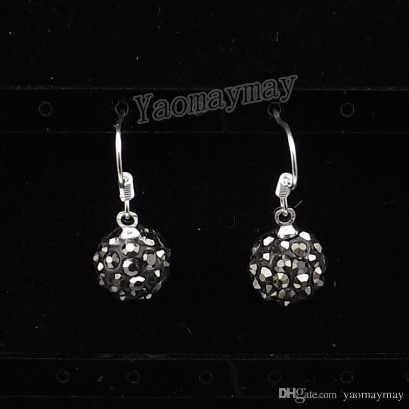 10mm Disco Ball Crystal Eardrops Silver Plated earrings For Choice