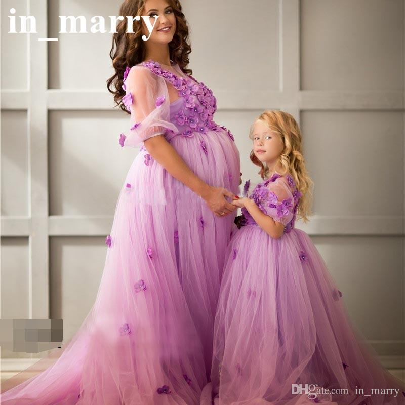 Compre Madre De Maternidad Púrpura Y Vestidos De Noche De La Hija ...