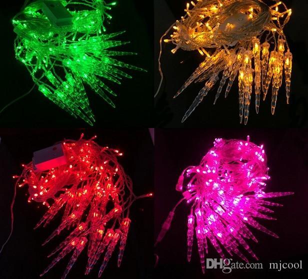 휴일 조명 4x0.6 M 고드름 화려한 크리스마스 요정 LED 커튼 체인 Luminarias 갈 랜드 크리스마스 장식 LED 조명