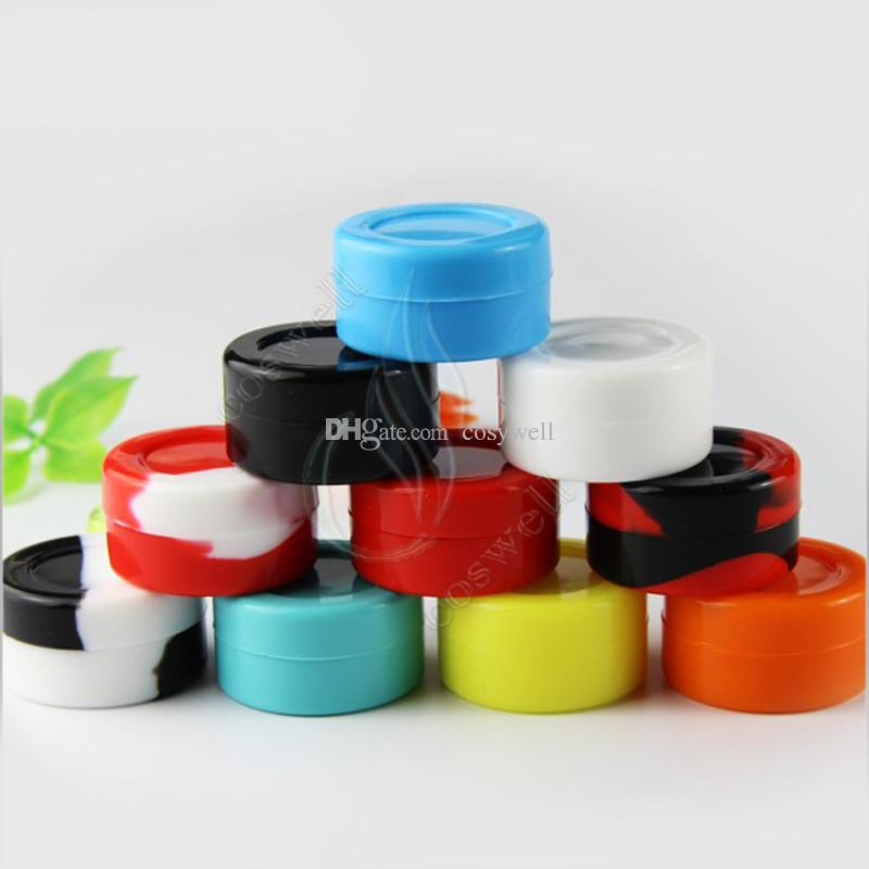 Top quality Silicone Non stick Wax Containers Food grade 3mL 5mL 7mL mini Dab Waxy Jars Concentrate Case FDA approved ecig box DHL