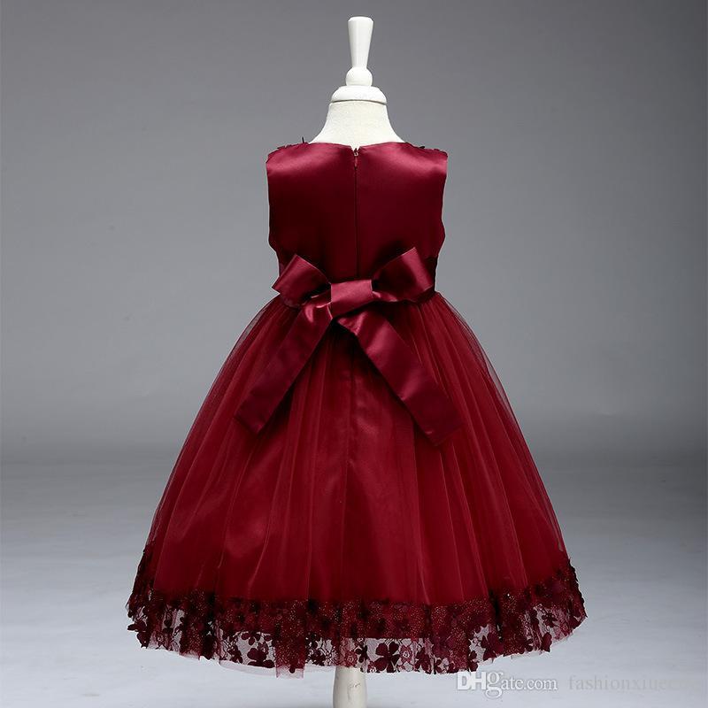Bowknot Vestido Para Meninas Crianças Roupas Vestido Sem Encosto Infantil Princesa Verão Festa À Noite Roupas De Menina Femininas