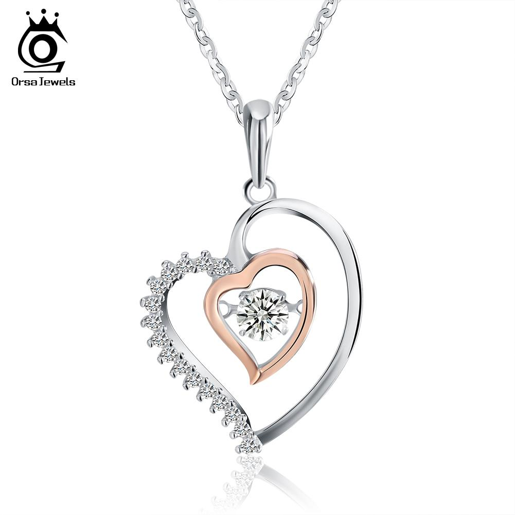 Wholesale genuine 925 silver double heart pendant necklace with 03 wholesale genuine 925 silver double heart pendant necklace with 03 ct crystal rhodium mixed rose gold color necklaces sn15 pendants gold necklace for women mozeypictures Image collections