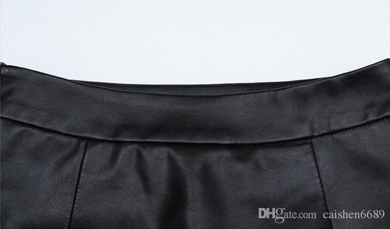 Haute Qualité PU Crayon Jupes En Cuir Taille Haute Fendue Jupe En Cuir Fourche 2017 Automne Noir Faux Synthétique En Cuir Moulante Bureau Jupe