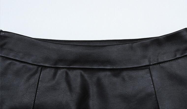 Hohe Qualität PU Leder Bleistift Röcke Hohe Taille Split Gabel Leder Rock 2017 Herbst Schwarz Kunstleder Bodycon Büro Rock