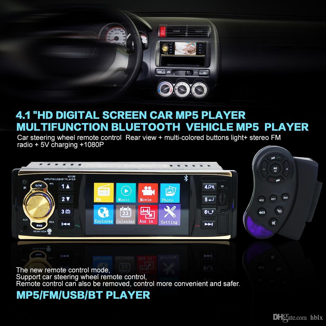 4019B 12V 4.1 Inch HD 1080P Bluetooth Stereo MP3 MP4 Car Radio FM MP5 Video Player Support AUX Input CAU_00C