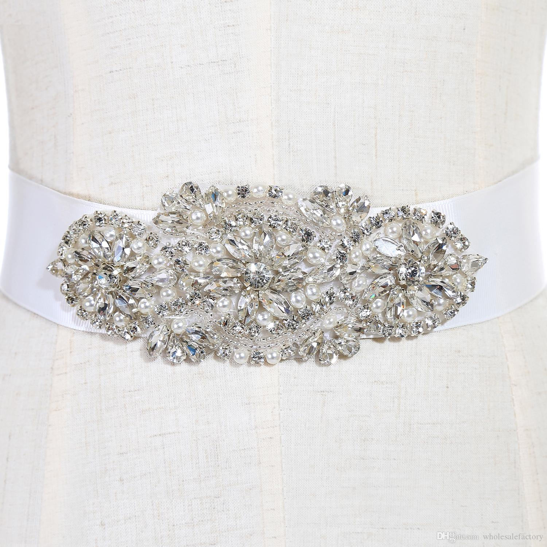Modne szarłki ślubne i pasy Suknia ślubna Sash na wesele Zroszony Rhinestone Crystal Wedding Pas Tanie CPA783