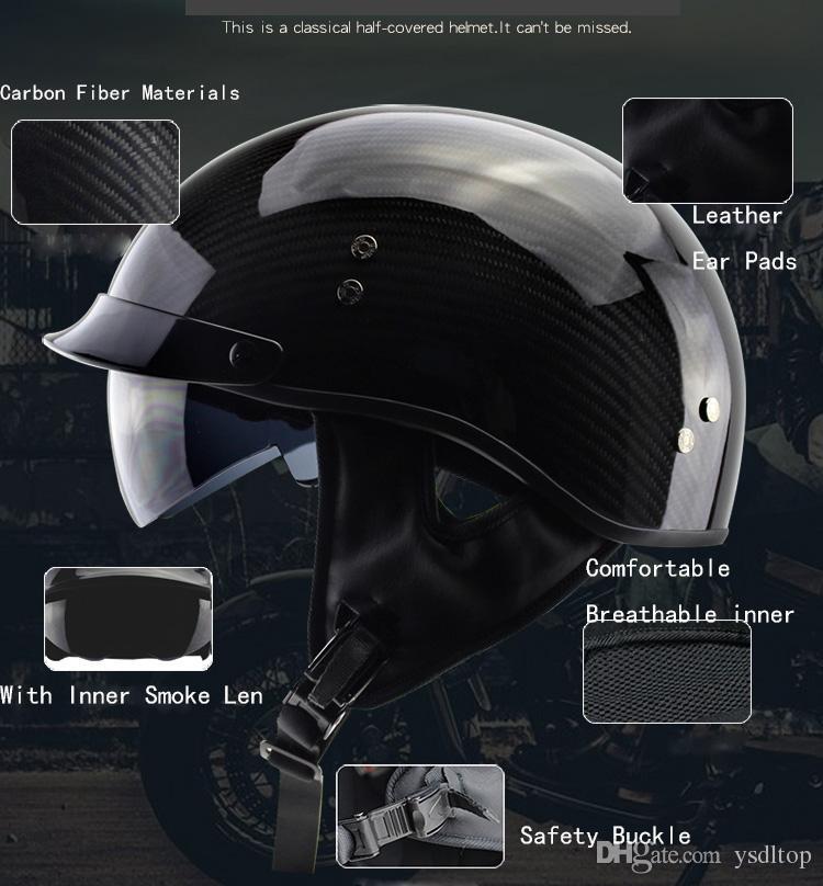 New Design Women and Men Carbon Fiber Half Face Motorcycle Helmet With Inner Smoked Len Chopper Cruiser Biker Helmets DOT approved