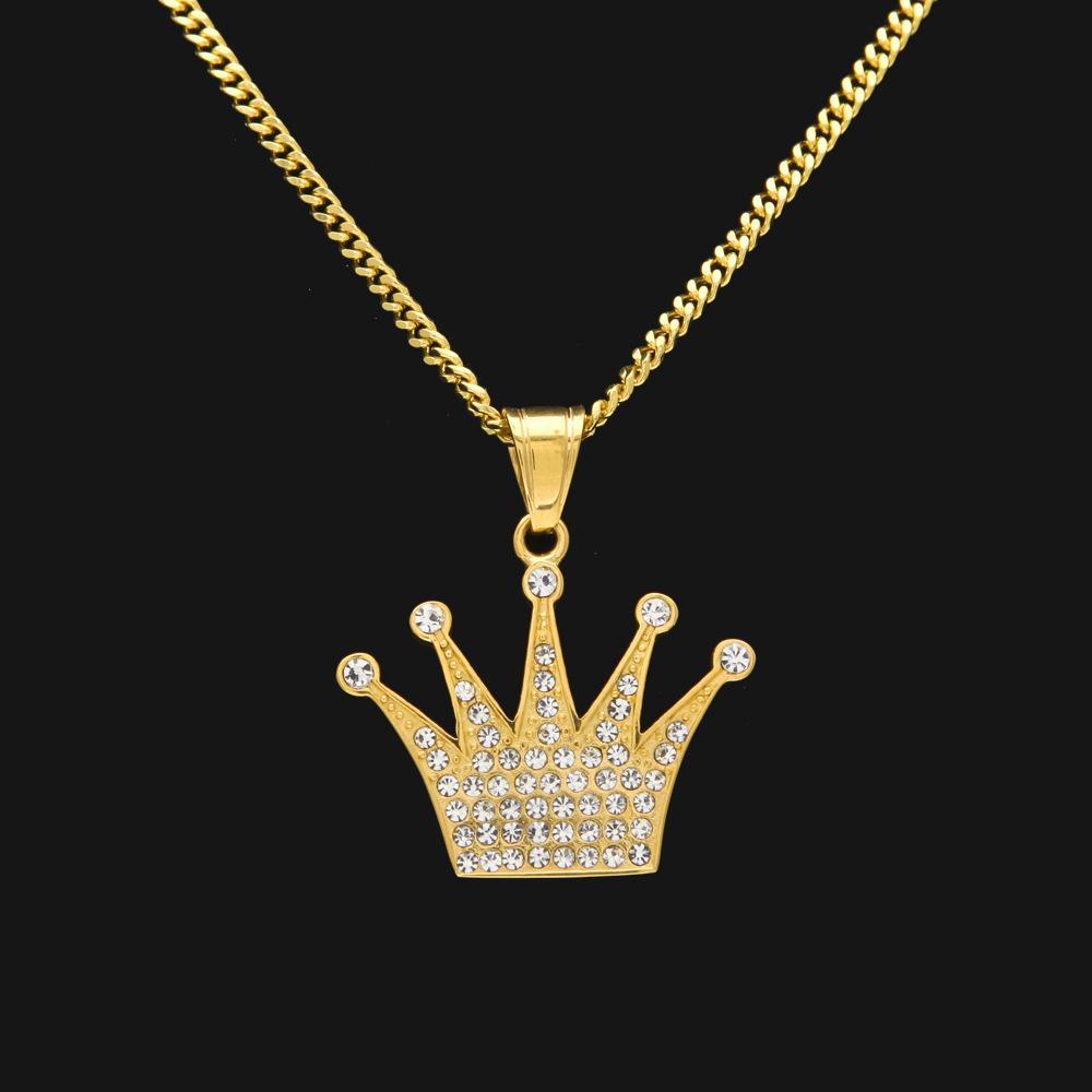 8587580d91b7 Compre Colgante De La Corona De Diamante Hip Hop 18k Oro Rosario De Moda  Collar De Roca Al Por Mayor A  15.55 Del Laputajewelry