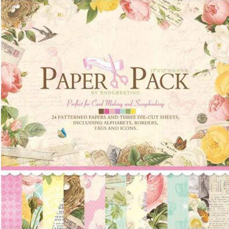 Wholesale 12 Graphic Vintage 40 Sheets Scrapbooking Pads Paper Origami Art Diy Craft Decor Invitation Card Album Making Gadgets E Greetings Cards