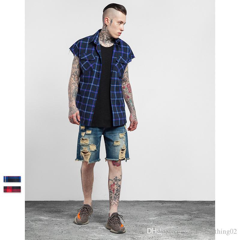 See larger image - 2017 Raw Edge Sleeveless Tartan Plaid Shirts Mens Streetwear Check