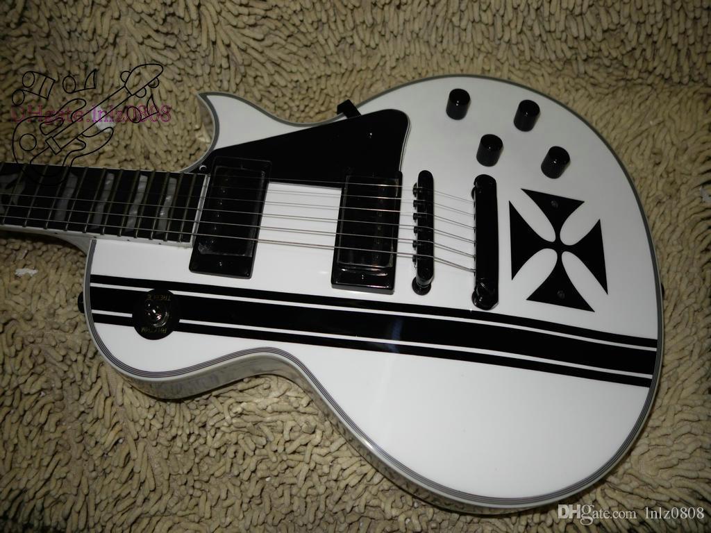 Пользовательские магазин белый крест SW электрогитара черное дерево гриф белые и черные гитары из Китая