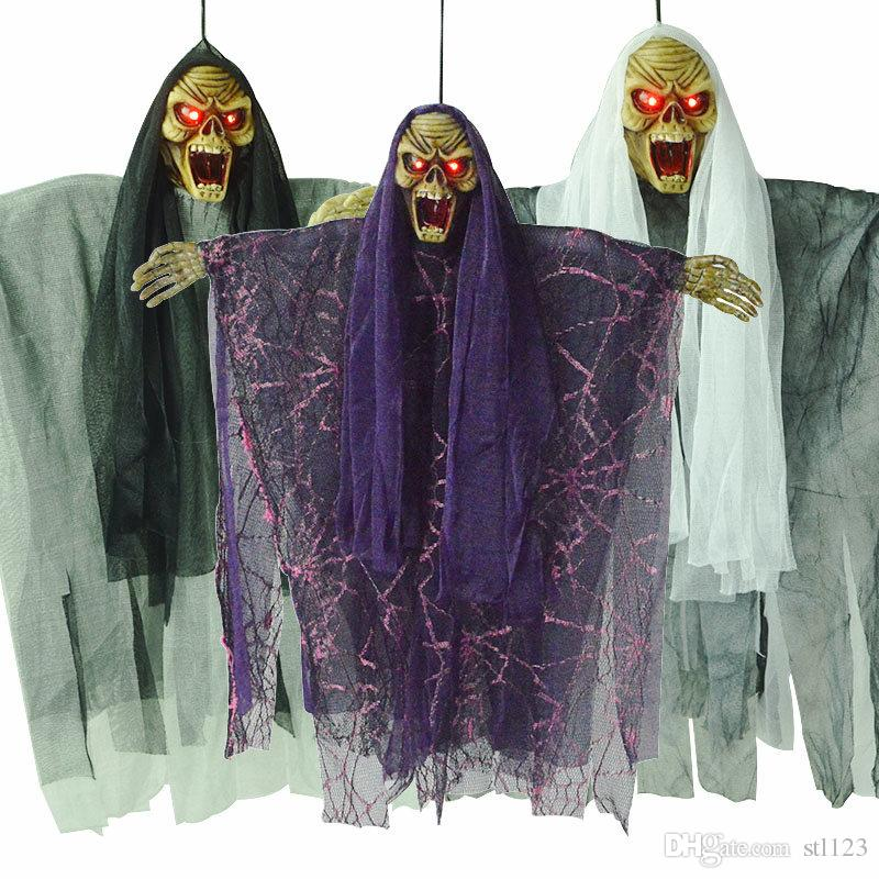 Halloween witch pendant haunted house decoration electric skeleton voice  hanging ghosts insanity horror toys Funny props