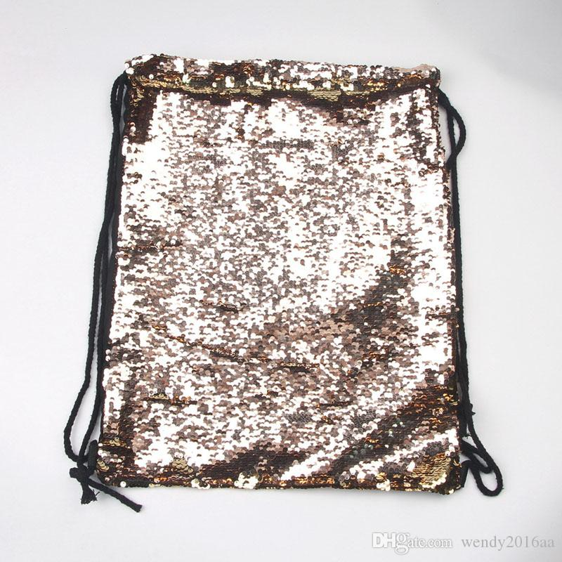 2017 New Backpack Style Mermaid Sequin Drawstring Bags Reversible Paillette Outdoor Backpack Glitter Sports Shoulder Travel Bag