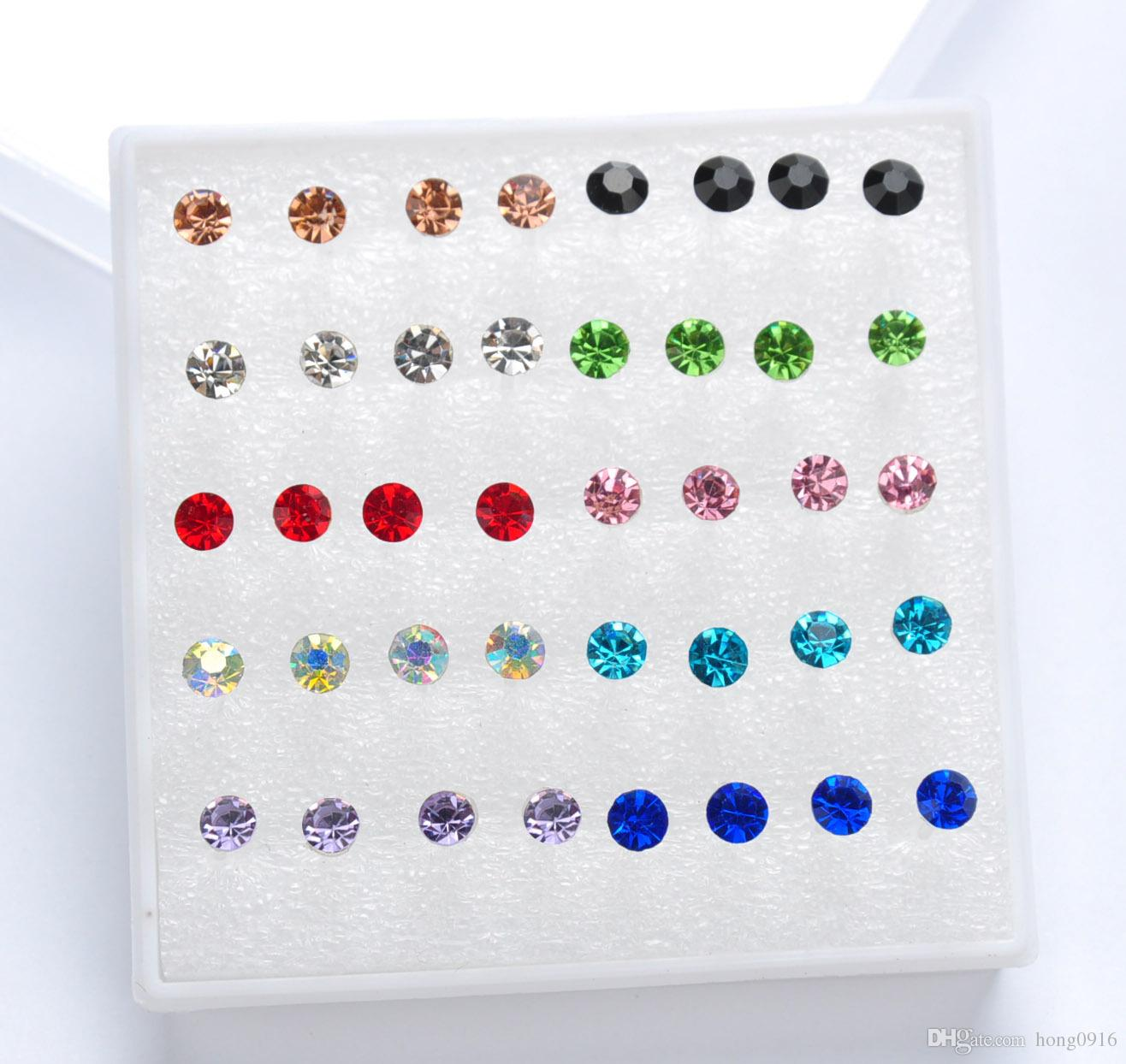 Nuevos pendientes de diamantes pendientes de aros en caja hipoalergénicos tamaño 2-5MM, caja sold1