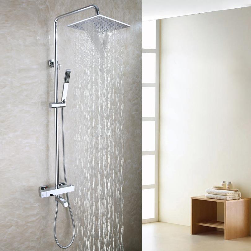 Moderne Badewanne Dusche Wasserhahn Set 10 Zoll Badezimmer Wasserfall  Duschkopf Handbrause enthalten Thermostat Badewanne Mischer Ventil 2103