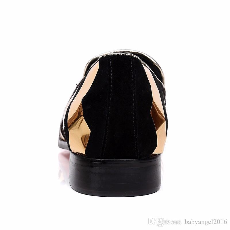 Christia Bella New Gold Männer Müßiggänger Striped Echtes Leder Party Hochzeit Red Bottom Männer Kleid Schuhe Smoking Loafers Männer Wohnungen