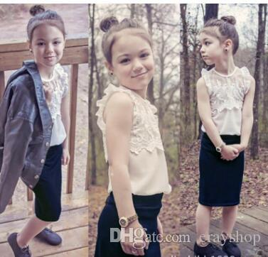 2017 New the princess lace dress suit for girl's Fake two piece dress one color can choose