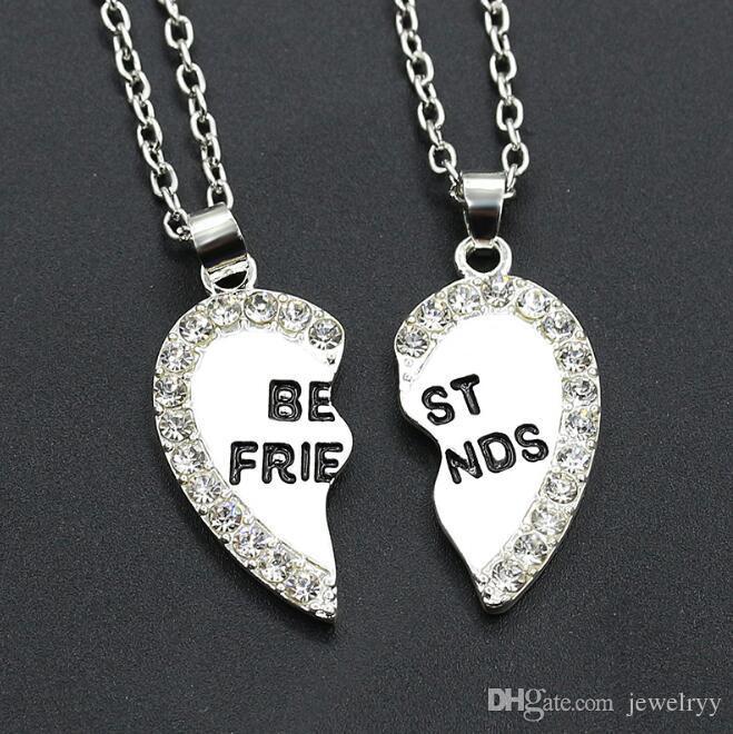Bracciale donna gioielli cristallo best friends collana strass cuore spezzato collane collana catena amicizia regali amante