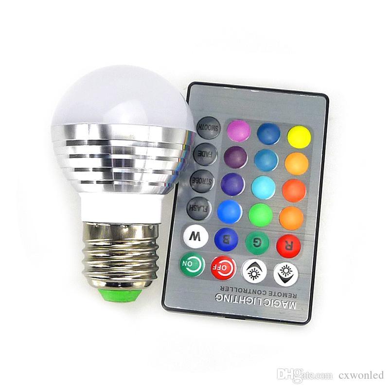 E27 E14 LED 16 que cambia de color RGB RGBW lámpara de la bombilla 85-265V RGB llevó la luz Spotlight + IR de control remoto