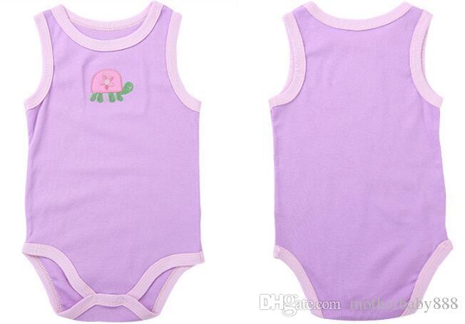 Großhandel Babyspielanzug Anzug Sommersäuglingsspielanzug Strampler 100 Baumwollsleeveless Babys Kleidung Junge Mädchen reinweiß volle Größen C454