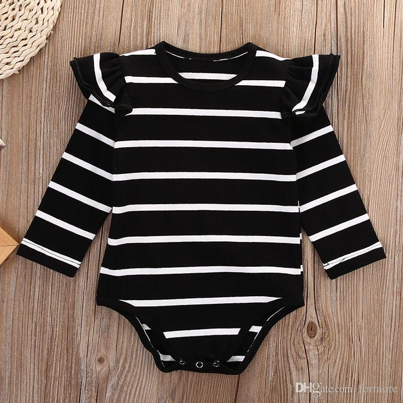 Baby Romper Kid Clothing Boutique Clothes Toddler Outfit Pajamas Striped Onesies Summer Fall Onesies Ruffle Jumpsuit Girl Leotards