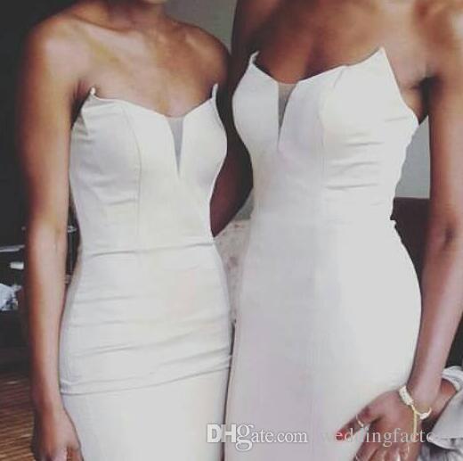 Custom Made Bridesmaids Dresses Elegant Strapless Sleeveless Fitted Bridesmaid Dresses Long Wedding Guest Dress Ruffles Split
