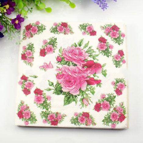 2019 Wholesale Rose Flower Paper Napkin Wedding Christmas New Year