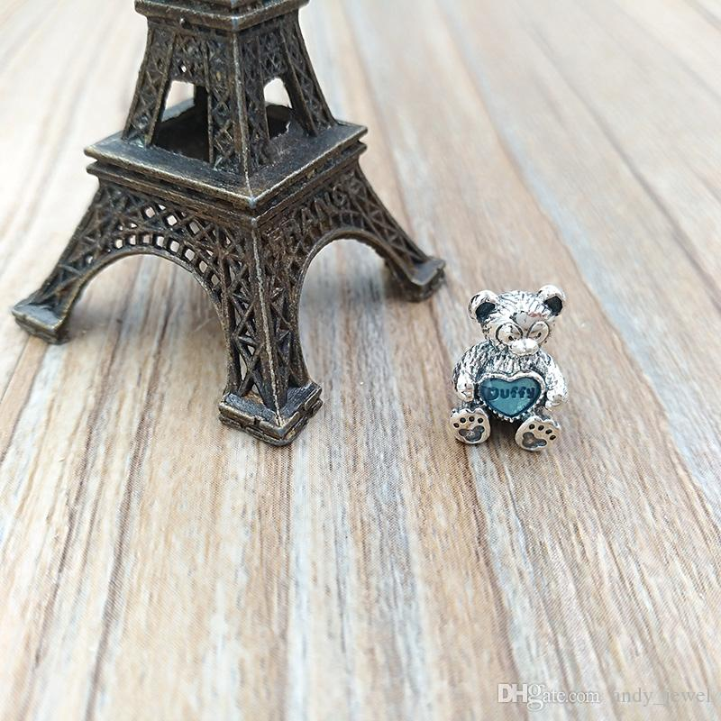 Authentische 925 Sterling Silber Perlen Duffy mit blauem Emaille Charms passt europäischen Pandora Style Schmuck Armbänder Halskette 792129EN128
