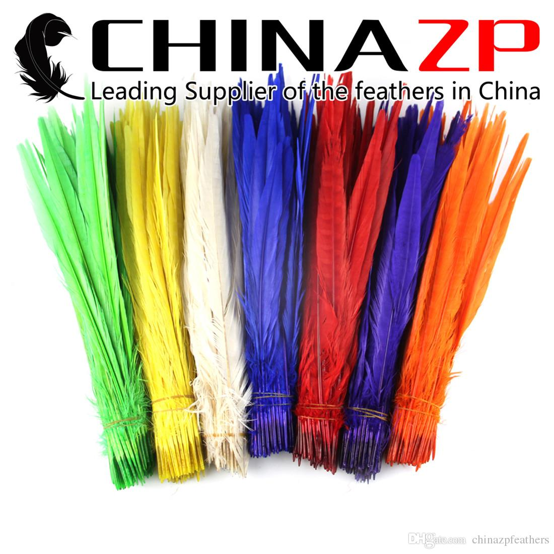 Gold Manufacturer CHINAZP Crafts Factory 100pcs/lot 30~35cm Good Quality Dyed Multicolor Ringneck Pheasant Feathers for Decoration