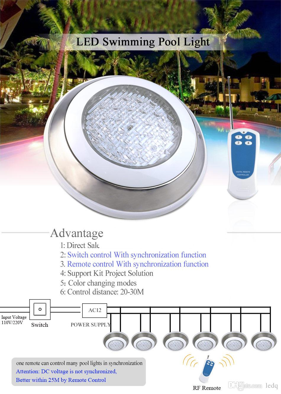 18W LED Swimming Pool Light AC 12V Stainless Steel Underwater Lights Lighting Lamp Fountain Artificial Waterfall Decoration Fixture CE ROSH