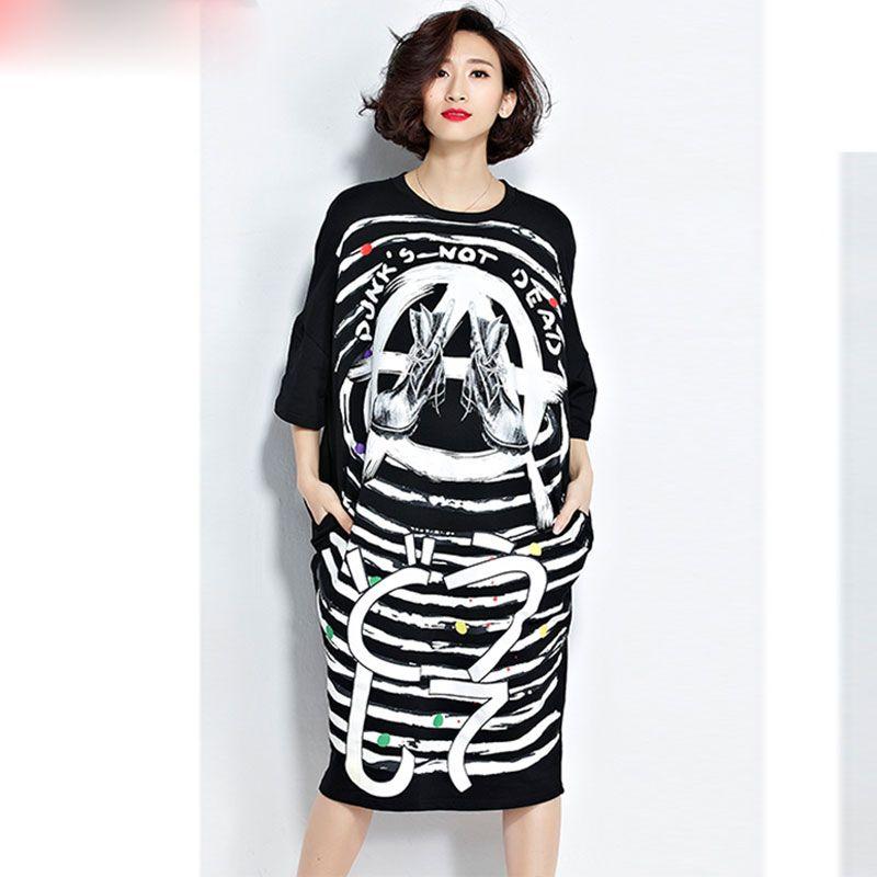 7b739eef762 Women Summer T Shirt Plus Size Striped Pattern Print Cotton Female Casual  Black Trend Fashion T Shirt Pocket Long Dress Print T Shirt Slogan T Shirts  From ...
