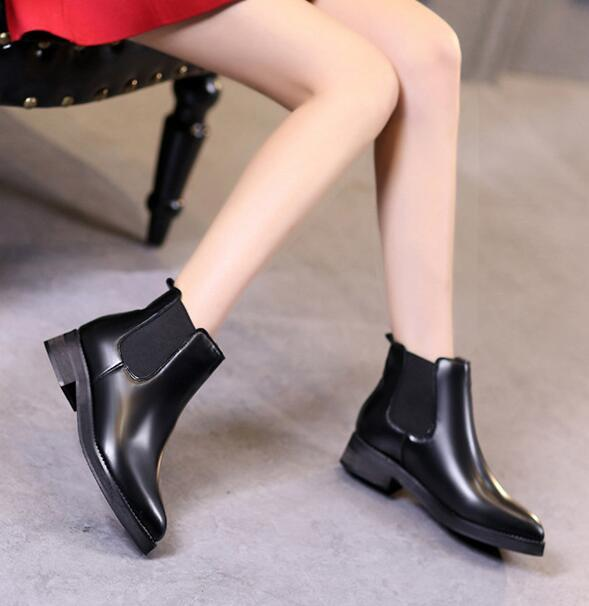 New 2017 autumn spring boots women square heels shoes pu leather martin boots women ankle boots botas mujer plus size