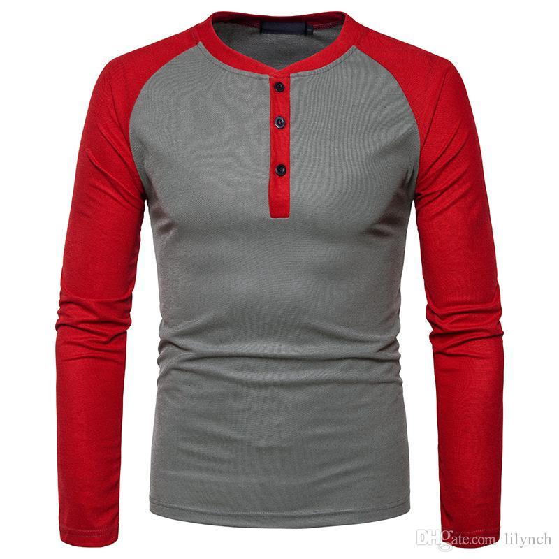 Ou code hommes Henry épeler couleur T-shirt à manches longues de grande taille 2017 automne nouvelle marque de vêtements pour hommes
