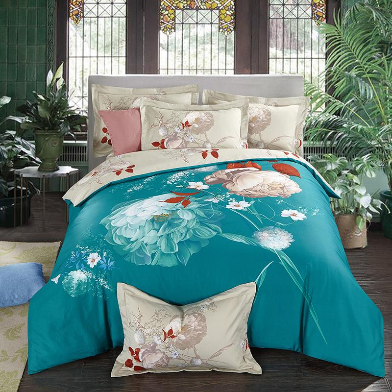 40*40/144*76 reactive print bed sheet bed linen four pieces bedding set 100% cotton fabric,thigher thread count blue color happy rose design