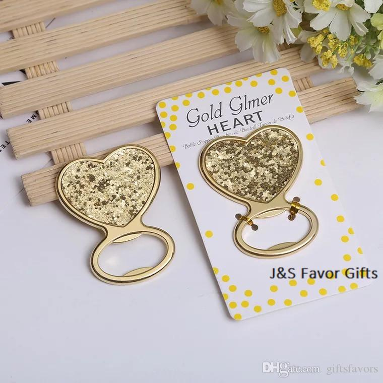 Gold Glitter Heart Shaped Bottle Opener Wedding Favors Bridal Shower