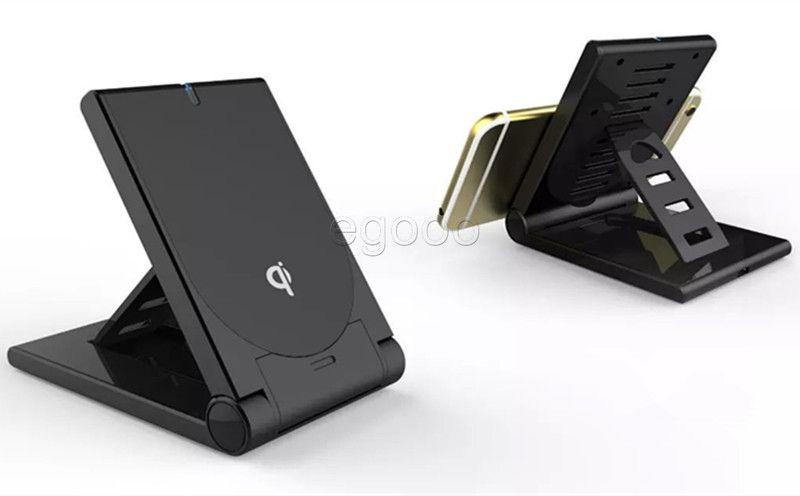 Alta calidad Universal Qi cargador inalámbrico soporte plegable ajustable Soporte Dock portátil para S8 Plus S7 Edge S6 Edge Plus