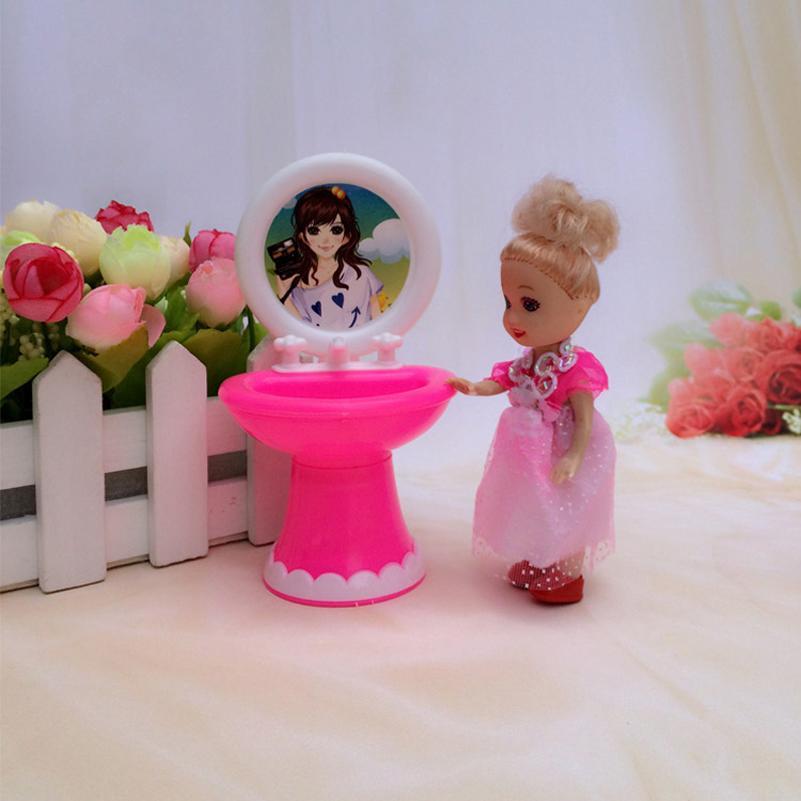 Abbyfrank Poupée Meubles Jouet Toilette Baignoire Baignoire Bol De Toilette Peut Renverser Lavabo Lavabo Salle De Bains Poupée Accessoires Poupée Jouet