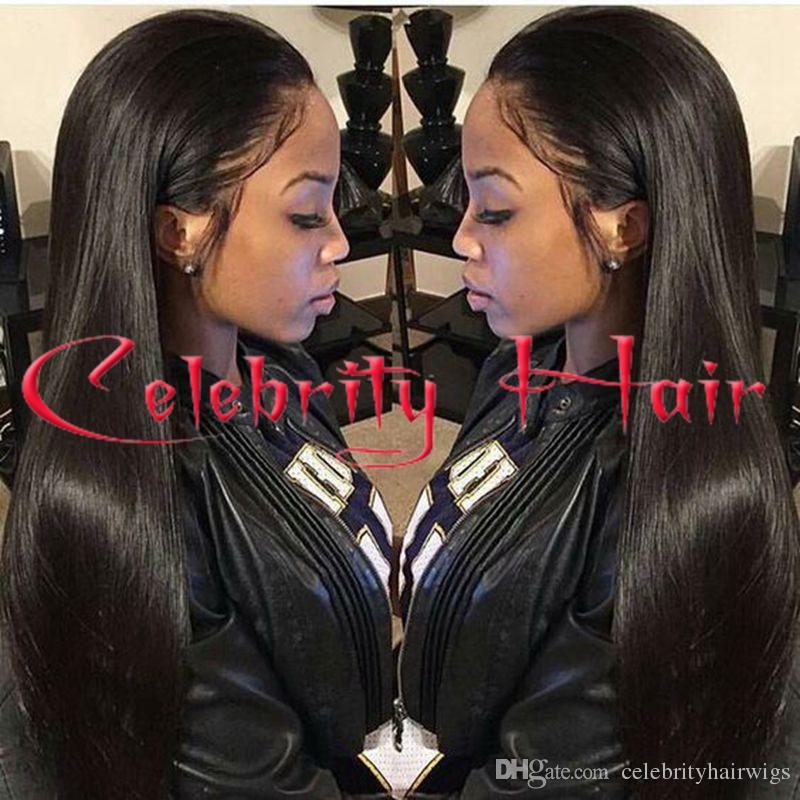 Longue droite droite naturel cheveux sans colle avant wi pleine perruque de dentelle de cheveux pour les afro-américains woman12-26inch résistant à la chaleur