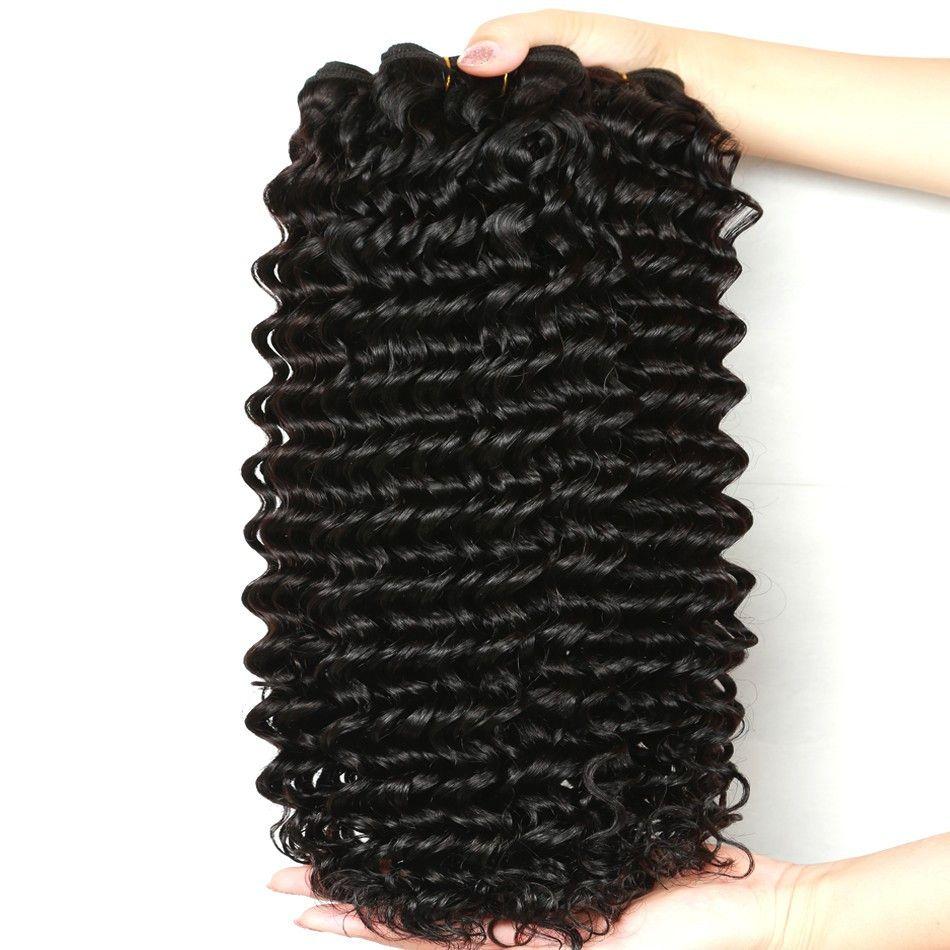 Malezyalı Kıvırcık Saçın çok Derin Dalga Malezya Saç Paketler 8-28 inç Doğal Siyah Brezilyalı Perulu Hint Kıvırcık Saç