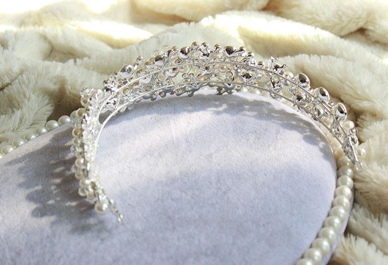 Gorgeous diamond-studded Crystal bead flower headband High quality Rhinestone Jewels hairband Bling Wedding bridal Hair Accessories S1017