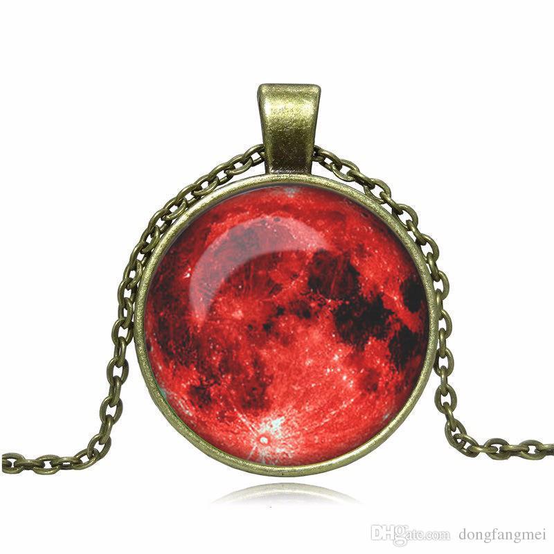 Горячая распродажа взрывоопасная Вселенная небо луна Луна драгоценный камень древний бронзовый ожерелье свитер цепи ретро WFN554 с цепью смешать порядка 20 штук много