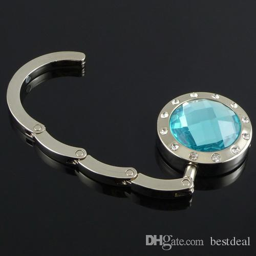접이식 훅 가방 행거 홀더 접이식 핸드백 가방 지갑 12 색 수정 다이아몬드가있는 PURSE 의류 액세서리 14 가지 색상