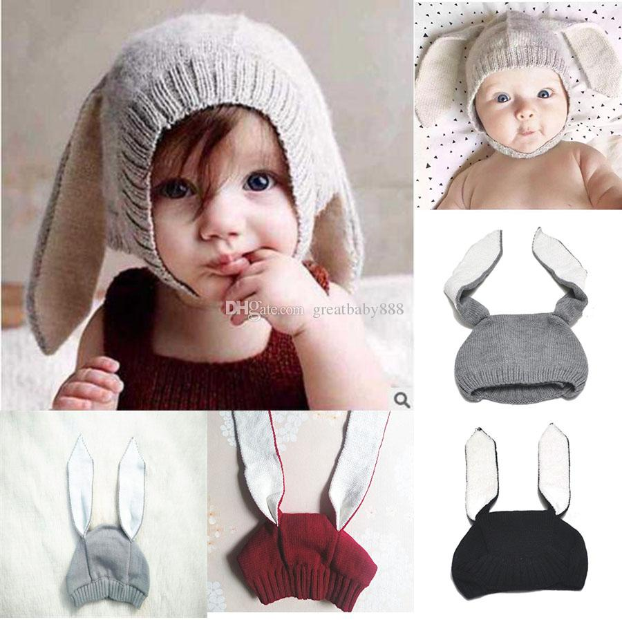 6d2e36fbe09 2019 Winter Baby Rabbit Ears Knitted Hat Infant Bunny Caps For Children 0  2T Girl Boy Hats Photography Props C2632 From Greatbaby888