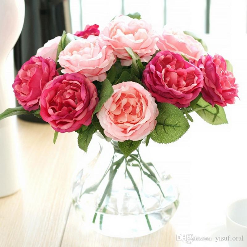 Artificial Rose garland eternal silk flowers in the glass Home Wedding Party Ornament Crafts decoration accessories fake flowers decor